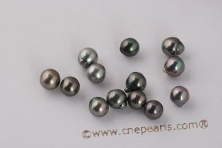 Btahiti1011AA 10-11mm AA Grade Semi-Baroques Circled Black Tahiti loose pearls