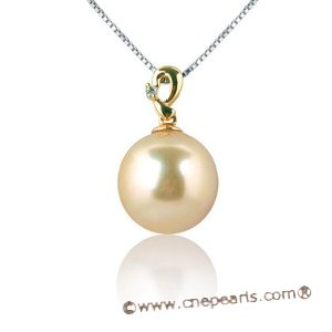 Dpp010 Golded South Sea Pearl Pendant in 18k  Yellow Gold, 0.01ct Diamonds