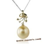 Dpp001 18k Yellow Gold south sea Pearl and Diamond  Pendant