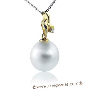 Dpp003 18K yellow gold modern style south sea pearl and diamond pendant