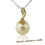 Dpp005 Leave design south sea pearl and diamond pendant in 18K yellow gold