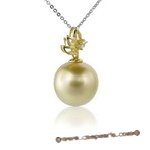 Dpp008 18K yellow gold  beautifully south sea pearl diamond pendant