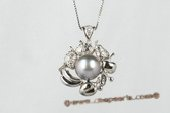 "thpd043 10-11mm  ""Jewels of Fruit"" Black Tahitian Round Pearl Pendant"