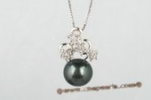 thpd048 Sweeting style Sterling silver 11.5-12mm Tahitian black Pearl & Swarovski CZ's Pendant