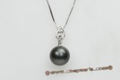 thpd059 Romance Collection tahitian black Pearl & Swarovski CZ's Pendant