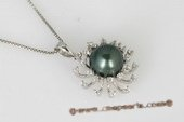 thpd063 sunflower 9-10mm Round tahitian Pearl Pendant  ,sterling silver & Swarovski CZ