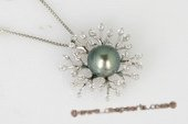 thpd064 flower styled  9-10mm  Round tahitian Pearl Pendant