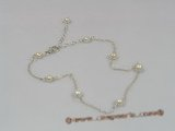 "anklet007 Sterling Rolo Chain and Pearl ""Tin Cup"" Style Anklet with adjustable lobster clasp"