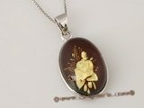 ap001 Sterling Silver & Carved flower Amber Pendant in oval shape