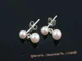 ape013 Sterling silver white round akoya pearl dangle stud earring in wholesale