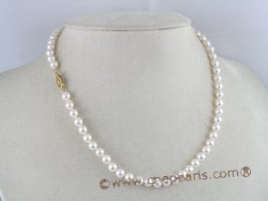 apnset001 AAA+ Quality 16 Inch Round 5.5-6mm White Akoya SaltWater Pearl Necklace