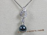 app002 Black 7.5-8mm akoya pearl 925silver pendant with zircon beads