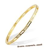 babr012 Shining Swarovski CZ&#39s cuff Bangle with 14kt yellow Gold Electroplate