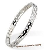 babr017 handcraft sparkly Swarovski CZ&#39s carve bangle with Rhodium Plated