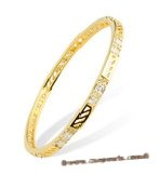 babr022 Ritzy Queen sparkly Rhinestone brass cuff Bracelet with 14K Gold Plating