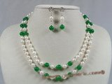 bapnset003 6.5-7mm baroque Akoya Pearl with jade necklace earrings set