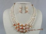 bapnset010 Baroque salt water pearl with dishing red agate necklace earrings set