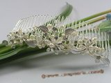 hcj004 Blooming pearl and crystal silver-tone metal Bridal Comb