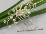 hcj008 Pearl,crystal & rhinestone bridal comb for wholesale
