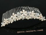 hj010 wholesale crystal and pearl Bridal Comb jewelry