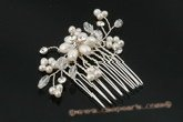 bcj037 Stunning pearl and crystal Side & Back bridal Comb