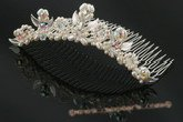 bcj043 Hand-wired clusters of freshwater pearls and crystal bridal comb