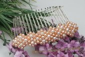 Bcj046 Silver-toned Pink Freshwater Pearls Bridal Hair Comb