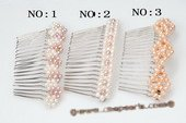 Bcj051 Designer Silver-toned Potato Pearls Bridal Hair Comb