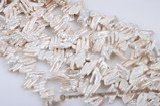 biwa37 13*30mm White Sider-drilled Baroque Biwa/Stick Pearl Strand