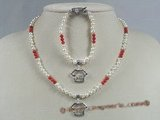 bpnset005 Flower girl & boy pearl and coral beads necklace bracelet set