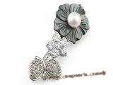 brooch006 flower design freshwater pearl brooch with 18kgp mountting