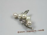 brooch017 18KGP white bread freshwater pearl brooches with zircon beads