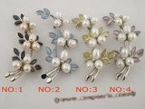 brooch034 wholesale cluster flower pattern pin& brooch with cultured pearl