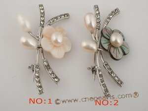 brooch035 Blooming flower shell pin& brooch with freshwater pearl