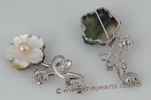 brooch039 Plate silver Blooming flower shell pin& brooch with freshwater pearl