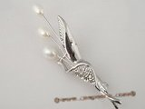 brooch048 Wholesale silver freshawater pearl brooch& pin in calyx pattern