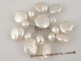 brooch050 Elegance white coin pearl wedding pin brooch in wholesale