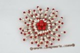brooch058 Red coral and rice seed pearl blooming flower brooch