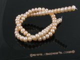 BS02 5pcs natural pink 7-8mm freshwater button pearl strands