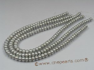 BS04 5pcs Grey 8-9mm freshwater button pearl strands