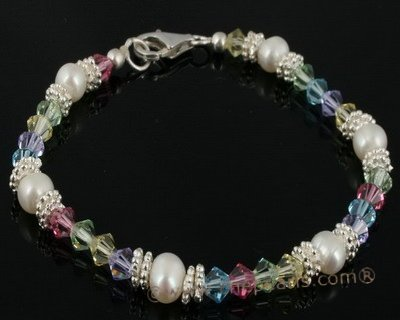 bsb011 Fine flower children seed pearl &Austria crystal bracelet wholesale