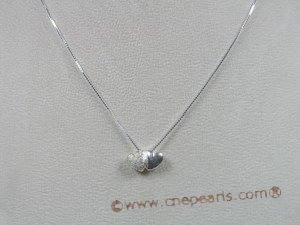 bsp007 Sterling Silver double heart design child&#39s pendant with 16 inch Box Chain