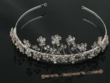 btj020 Wholesale Sparkle culster flower Rhinestone Angel Tiara