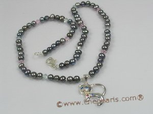 bypn001 children pearl crystal necklace with sterling cat-design pendant