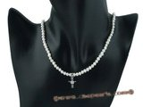 bypn002 flower children pearl necklace with sterling cross pendant