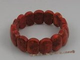 cbr010 13*18mm oblong red coral beads stretchy bracelets 7.5""