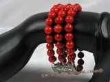 cbr024 Three strands 8mm red round coral bracelet
