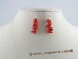 ce007 handcrafted branch red branch coral sterling dangle earrings