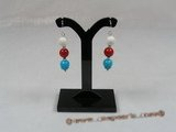 CE013 Sterling 8mm red coral and turquoise beads dangle dangle earring