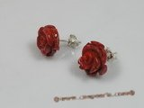 ce015 sterling 12mm flower design red coral studs earrings